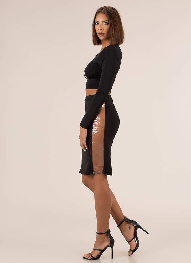 Clearly Stunning Top And Skirt Set BLACK