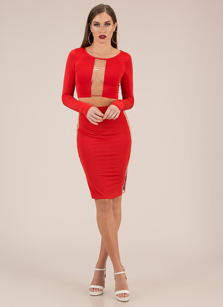 Clearly Stunning Top And Skirt Set RED (Final Sale)