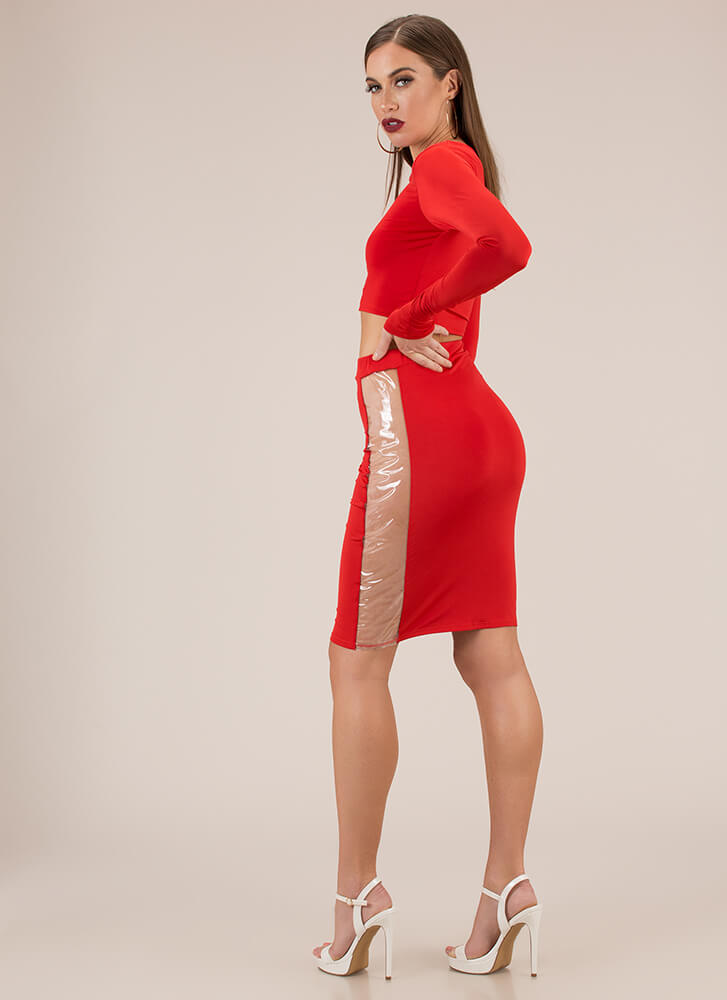 Clearly Stunning Top And Skirt Set RED