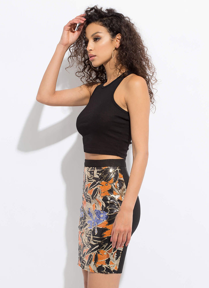 Vacation City Sequined Bandage Skirt ORANGEMULTI