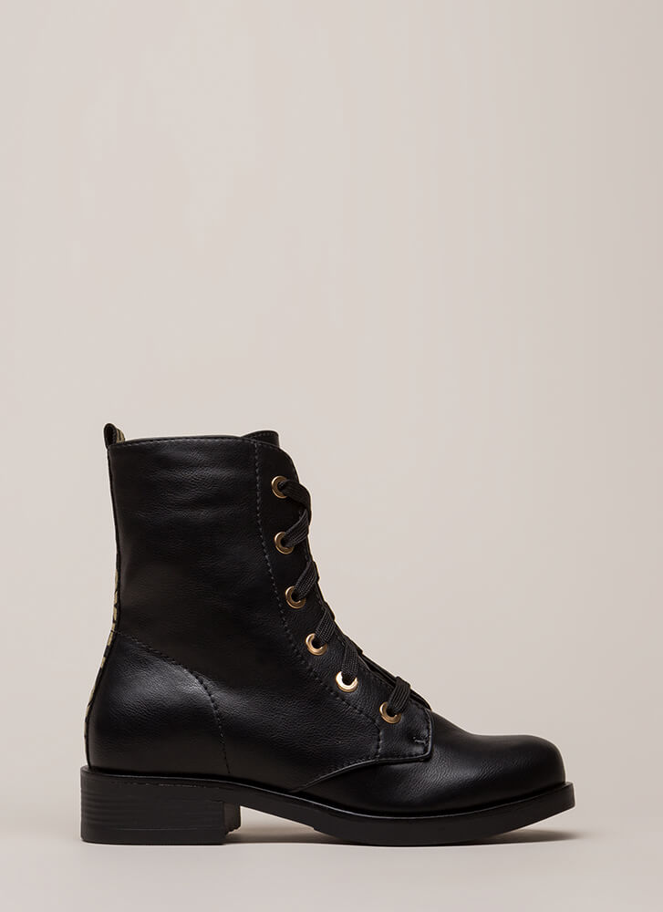 What Is Love Faux Leather Combat Boots BLACK