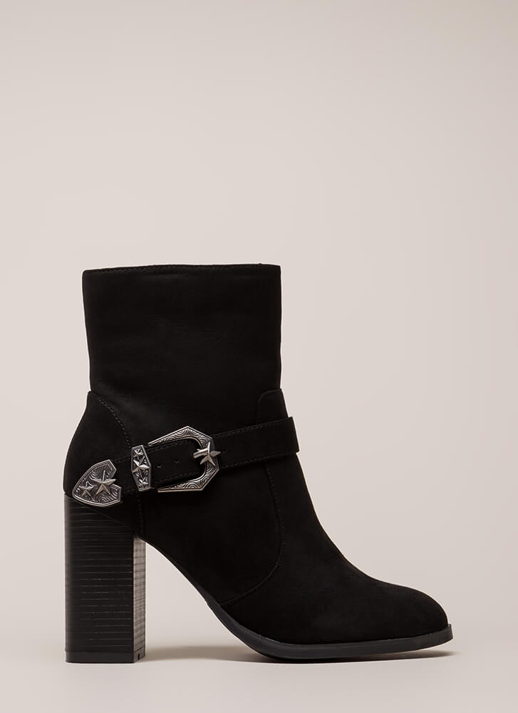 West Side Chunky Buckled Booties BLACK