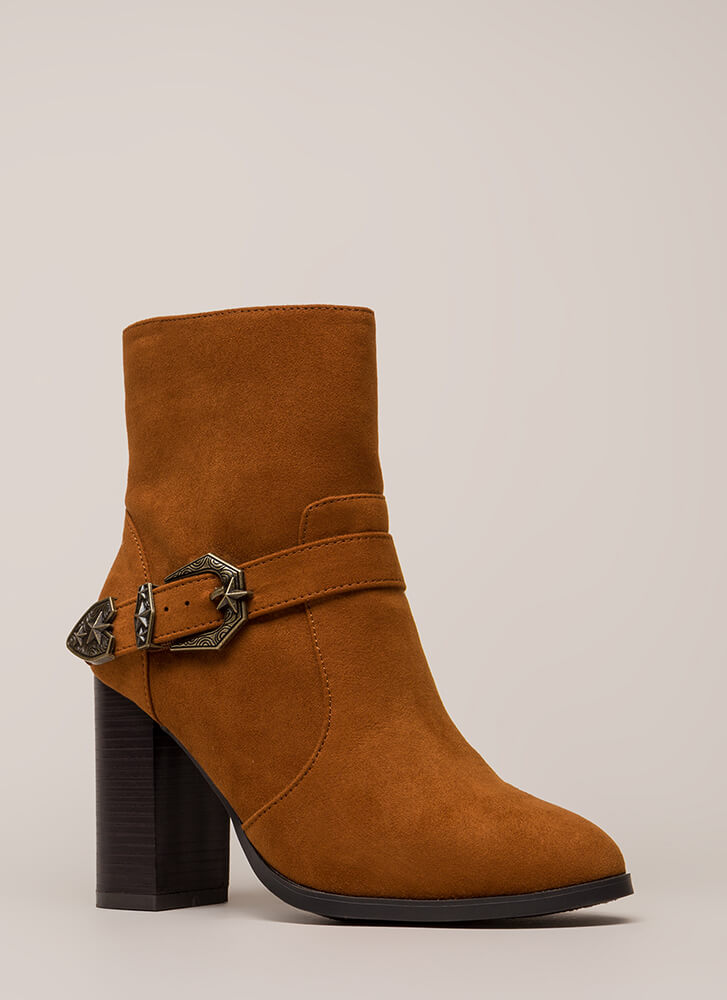 West Side Chunky Buckled Booties CHESTNUT