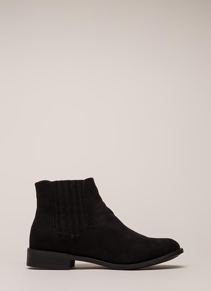 Simple Style Short Faux Suede Booties BLACK