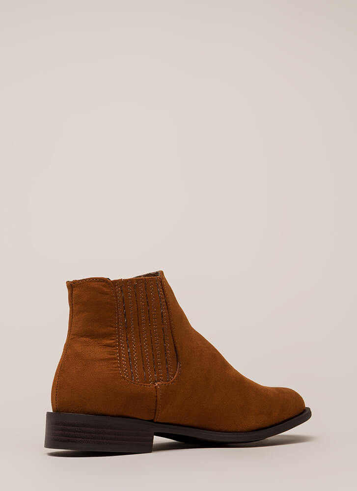 Simple Style Short Faux Suede Booties CHESTNUT