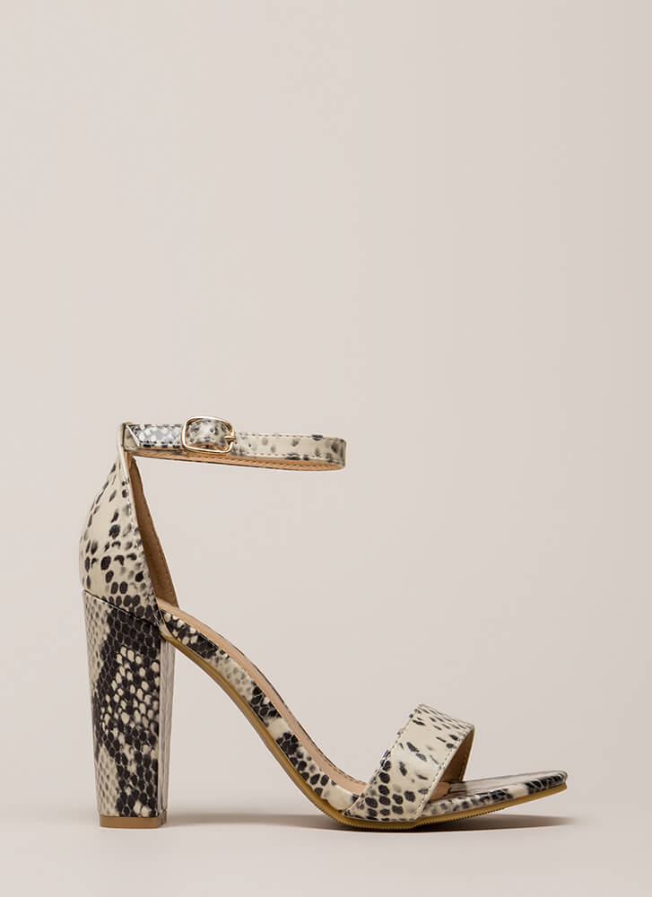 Snake Things Up Chunky Ankle Strap Heels BEIGE
