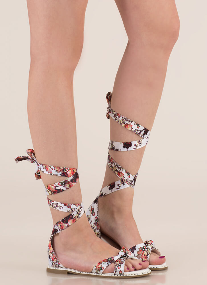 Spring In My Step Lace-Up Floral Sandals WHITE (Final Sale)