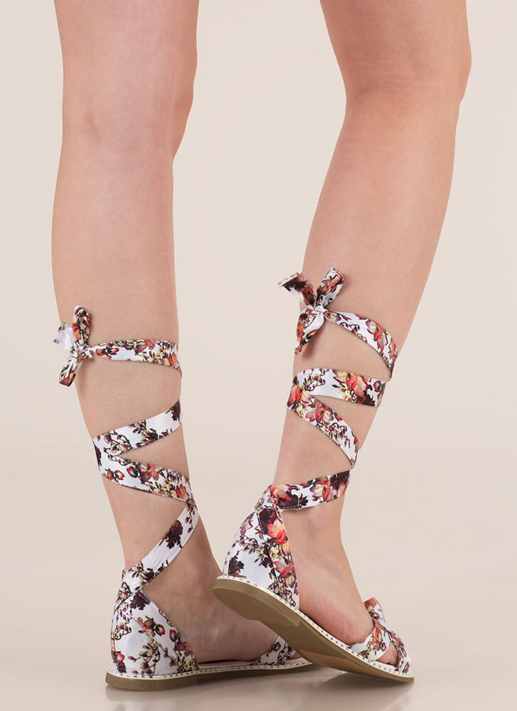 Spring In My Step Lace-Up Floral Sandals WHITE