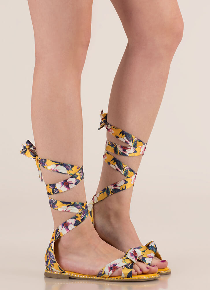 Spring In My Step Lace-Up Floral Sandals YELLOW