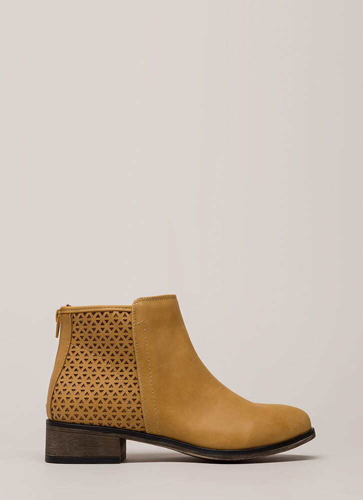 Chic Up Latticed Block Heel Booties NATURAL