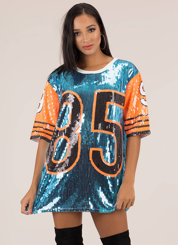 85 This Thing Sequined Jersey Dress BLUE