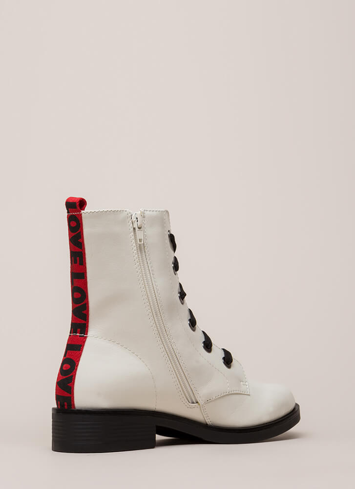 What Is Love Faux Patent Combat Boots WHITE