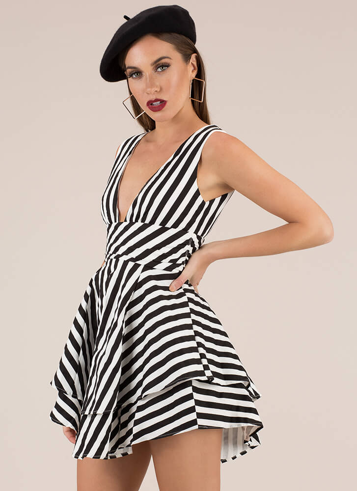 Sensational Striped Flared Minidress BLACK