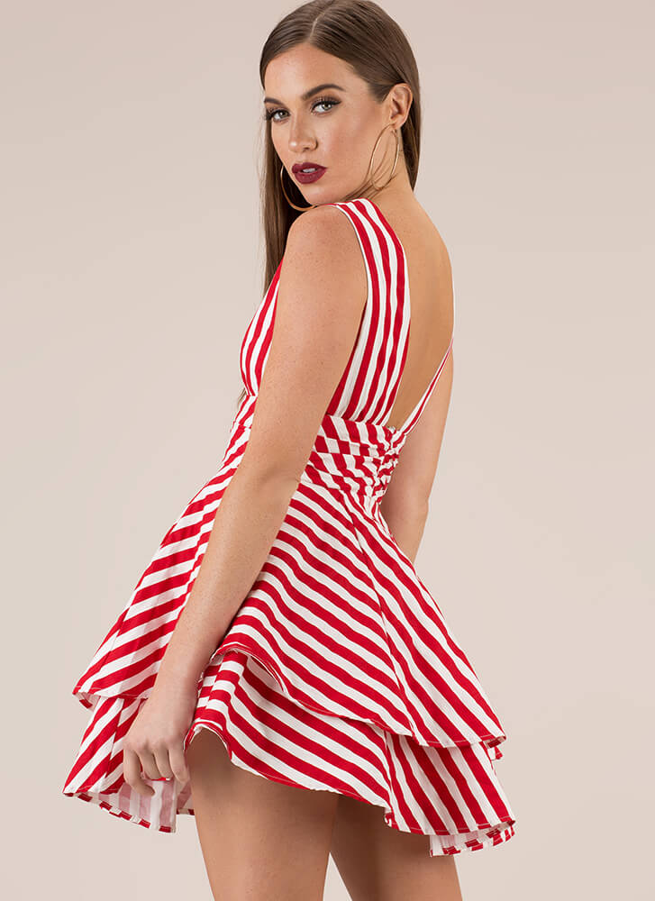 Sensational Striped Flared Minidress RED