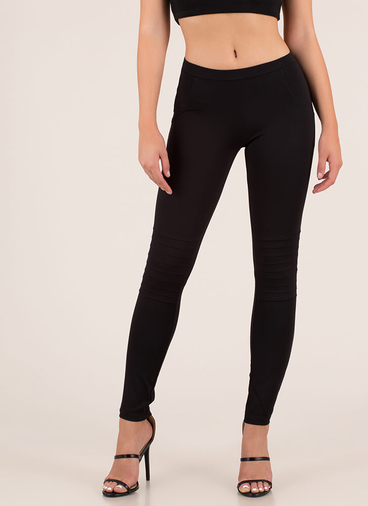 You're A Good Sport Pleated Leggings BLACK