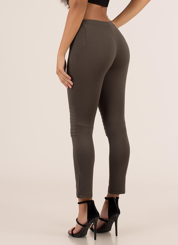 You're A Good Sport Pleated Leggings OLIVE