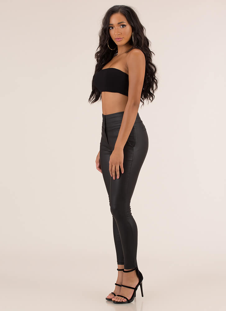 Perfect Fit Faux Leather Skinny Pants BLACK