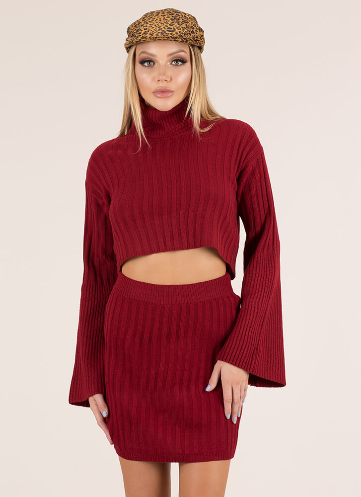 Sweater Weather Turtleneck And Skirt Set BURGUNDY