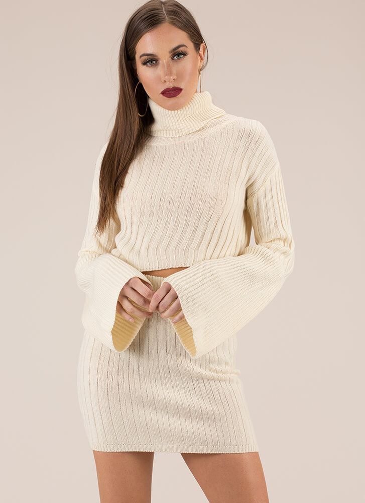 Sweater Weather Turtleneck And Skirt Set IVORY