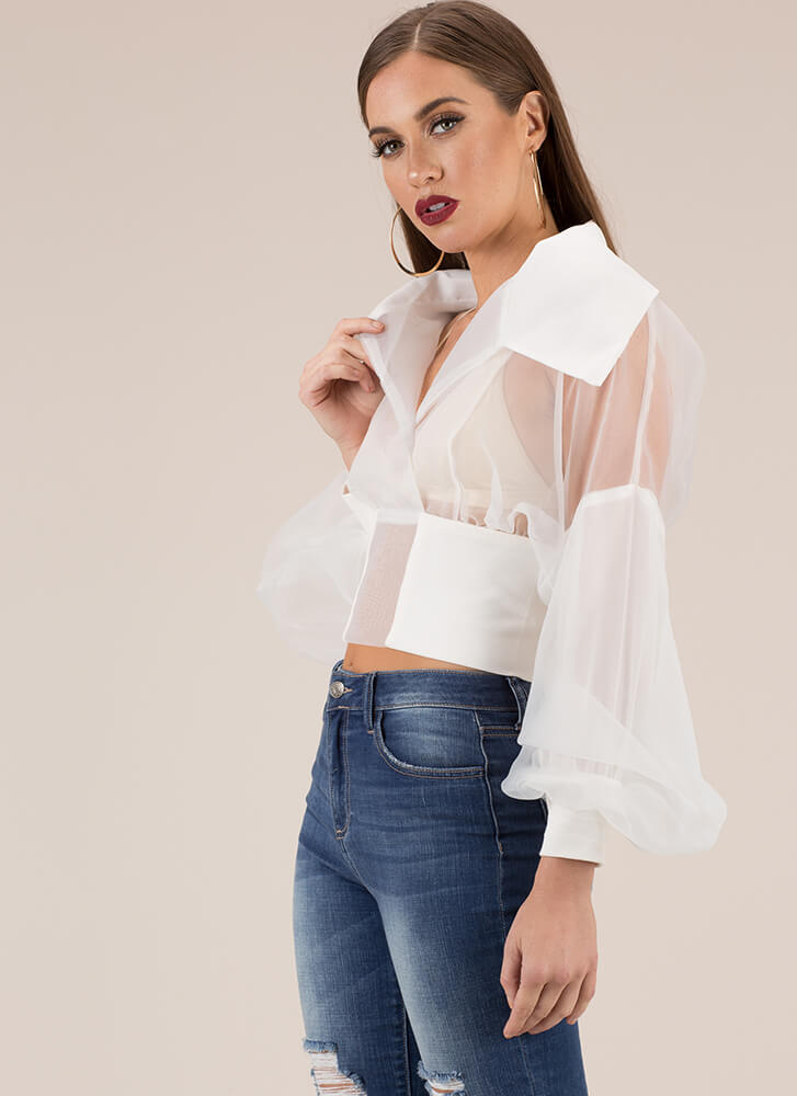 I'm A Lady Collared Organza Blouse WHITE