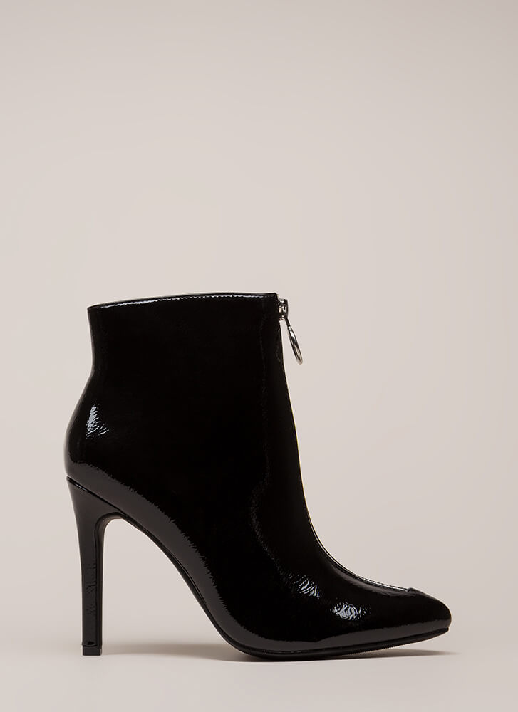 Zip Your Lip Pointy Faux Patent Booties BLACK