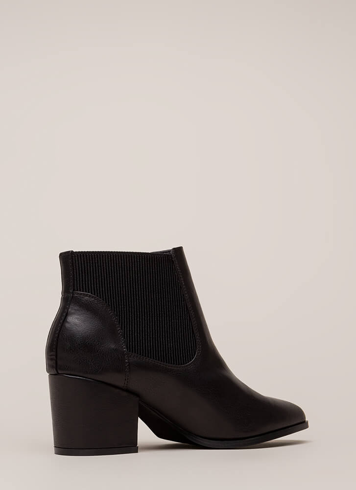 Pull It Off Chunky Faux Leather Booties BLACK