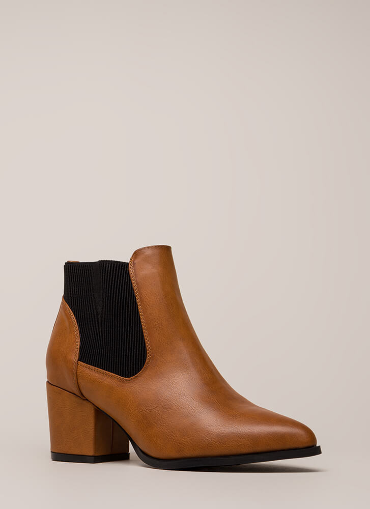 Pull It Off Chunky Faux Leather Booties CHESTNUT