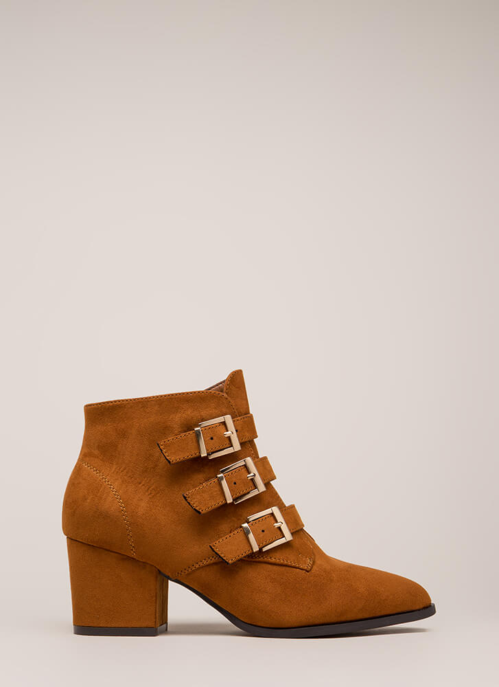 Three Straps You're Out Chunky Booties CHESTNUT