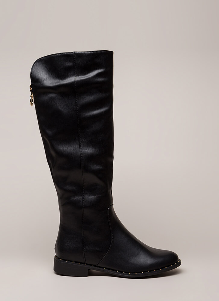 Lasso Studded Faux Leather Riding Boots BLACK