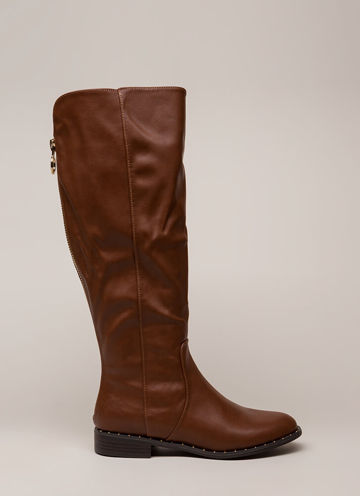 Lasso Studded Faux Leather Riding Boots CHESTNUT