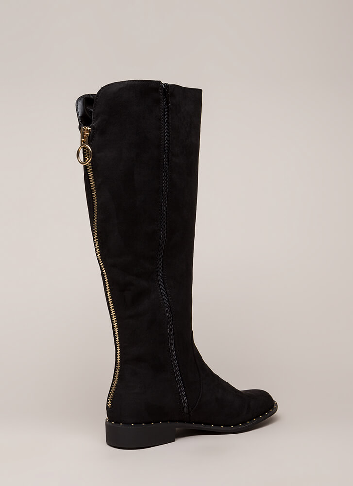 Lasso Studded Faux Suede Riding Boots BLACK