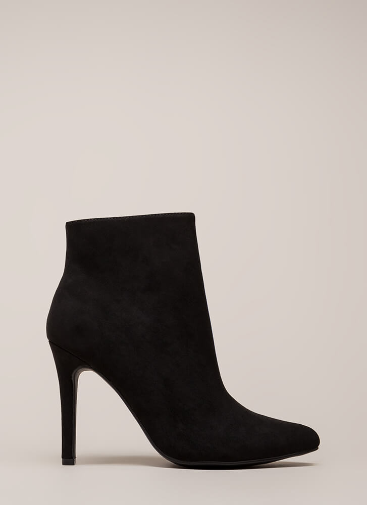 Take A Pledge Pointy Faux Suede Booties BLACK