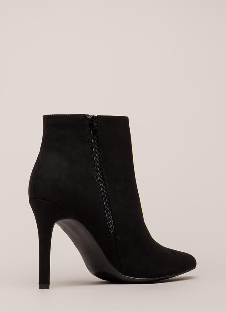 Take A Pledge Pointy Faux Suede Booties BLACK (Final Sale)