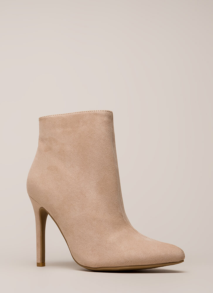 Take A Pledge Pointy Faux Suede Booties NUDE
