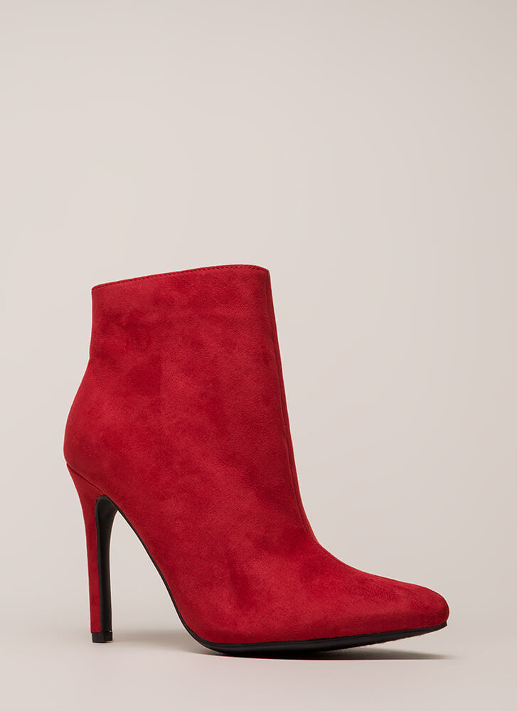 Take A Pledge Pointy Faux Suede Booties RED
