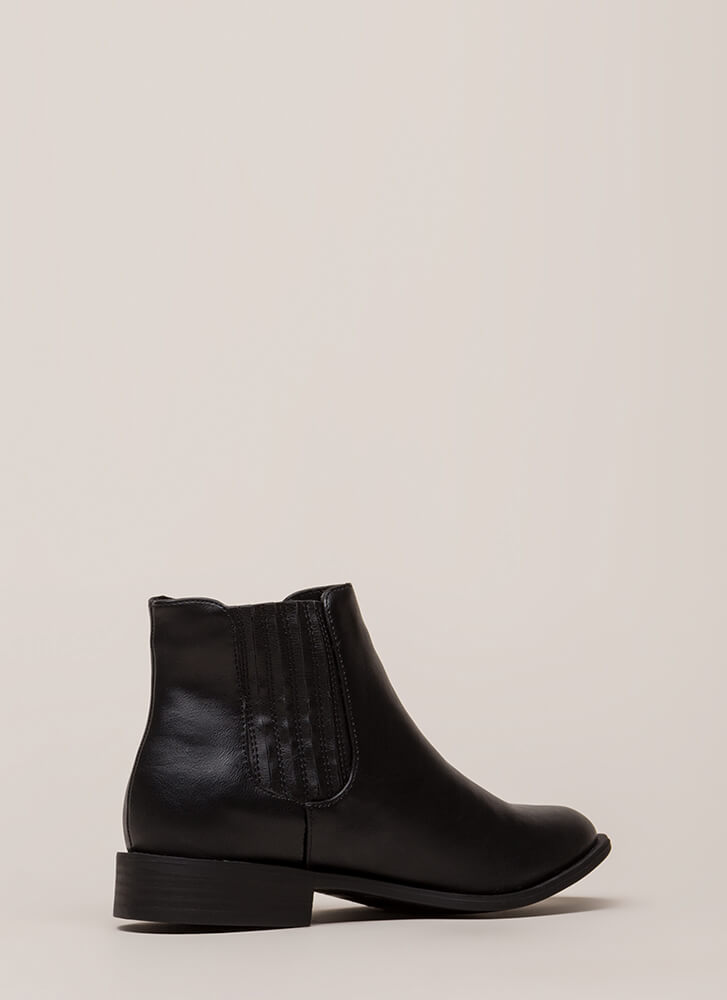 Simple Style Short Faux Leather Booties BLACK