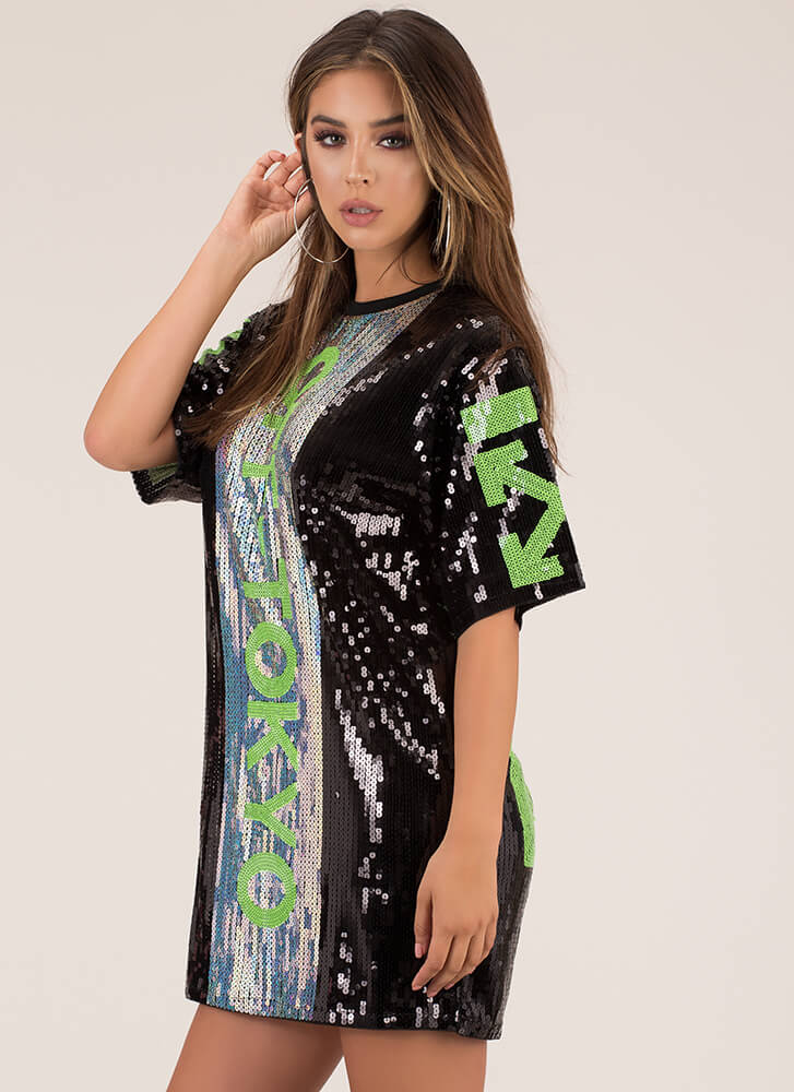 Off To Tokyo Sequined Shift Dress BLACK