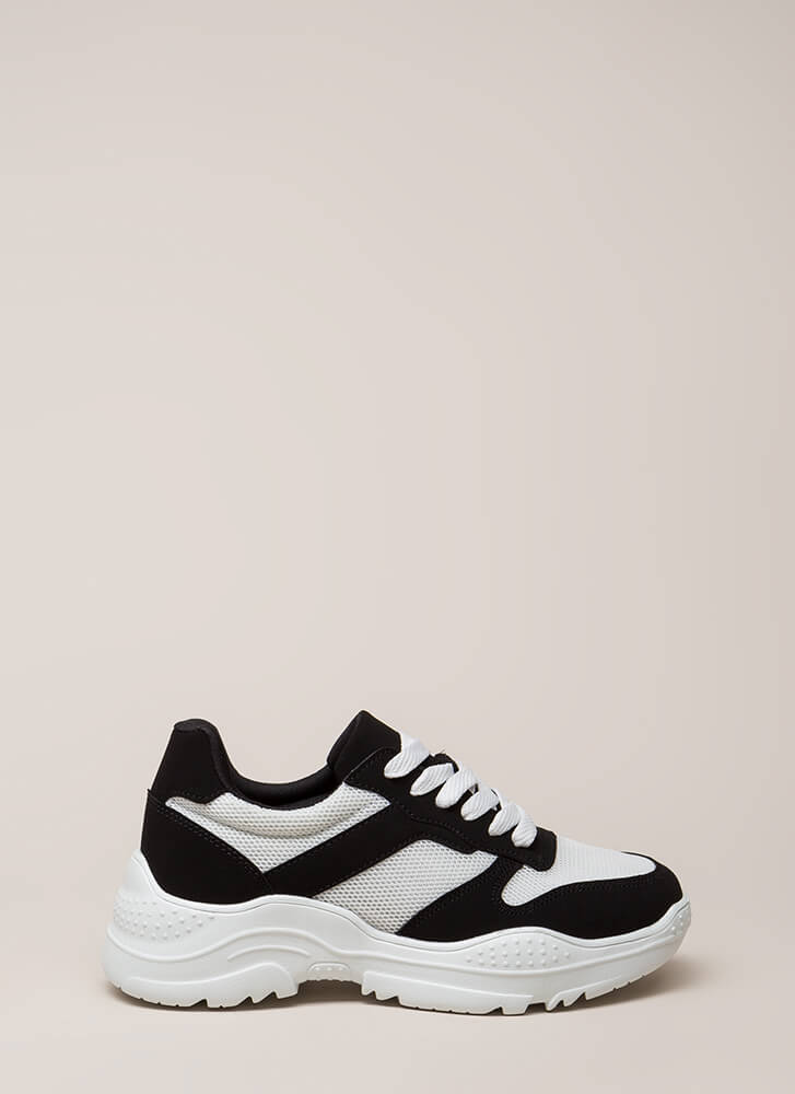 Home Run Faux Nubuck Platform Sneakers BLACK