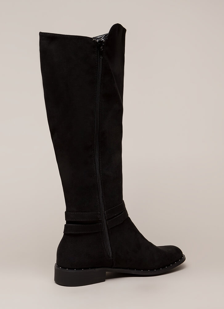Studded And Strappy Riding Boots BLACK