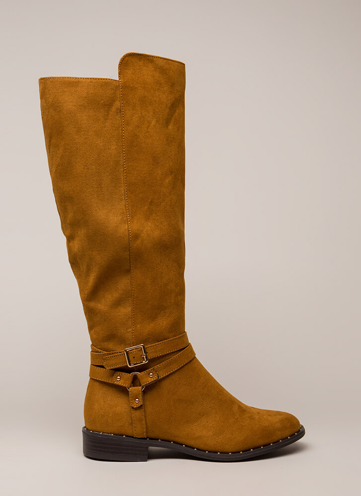 Studded And Strappy Riding Boots COGNAC