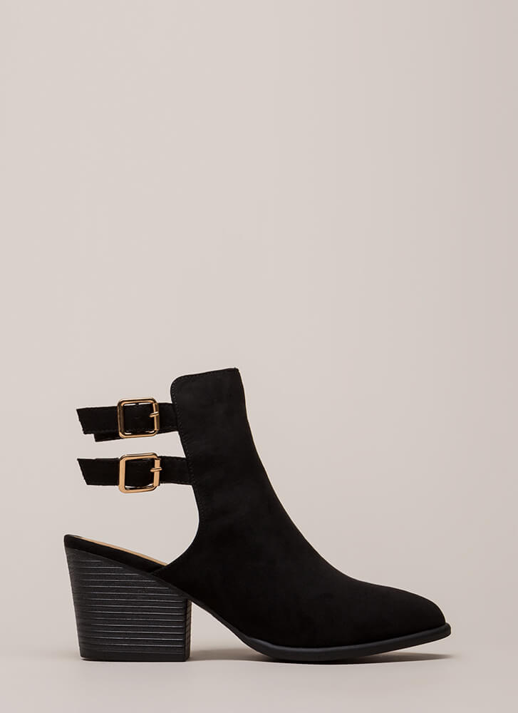 Born Ready Strappy Back Block Booties BLACK