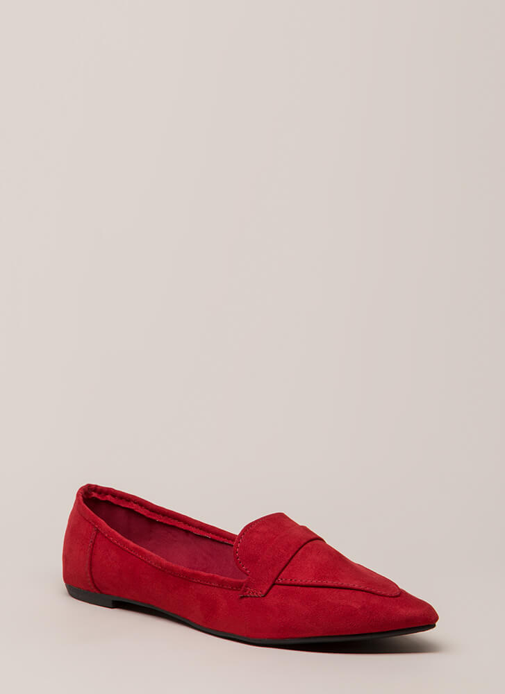 Fashion Influencer Pointy Smoking Flats RED
