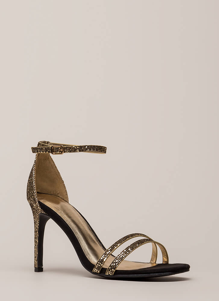 Club Glitter Strappy Sparkly Heels GOLD