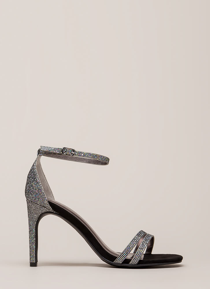 Club Glitter Strappy Sparkly Heels SILVER