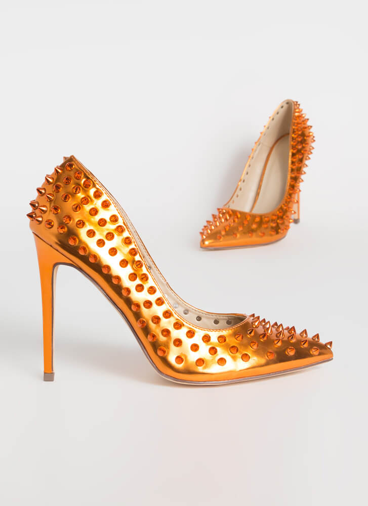 Spike Your Pose Pointy Studded Pumps ORANGE