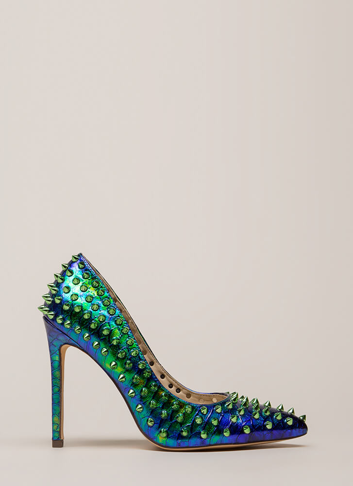 Spike Your Pose Scaled Studded Pumps GREEN