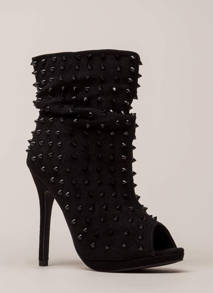 Spike A Pose Slouchy Studded Booties BLACK