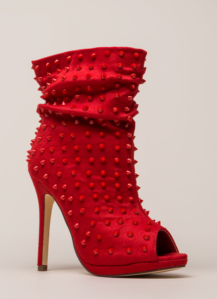 Spike A Pose Slouchy Studded Booties RED (You Saved $32)