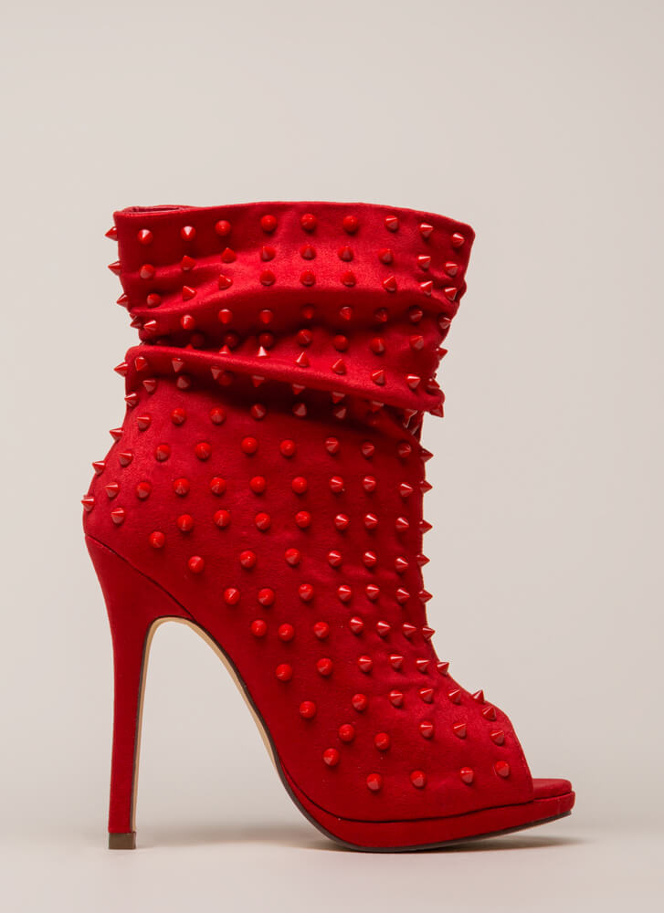 Spike A Pose Slouchy Studded Booties RED