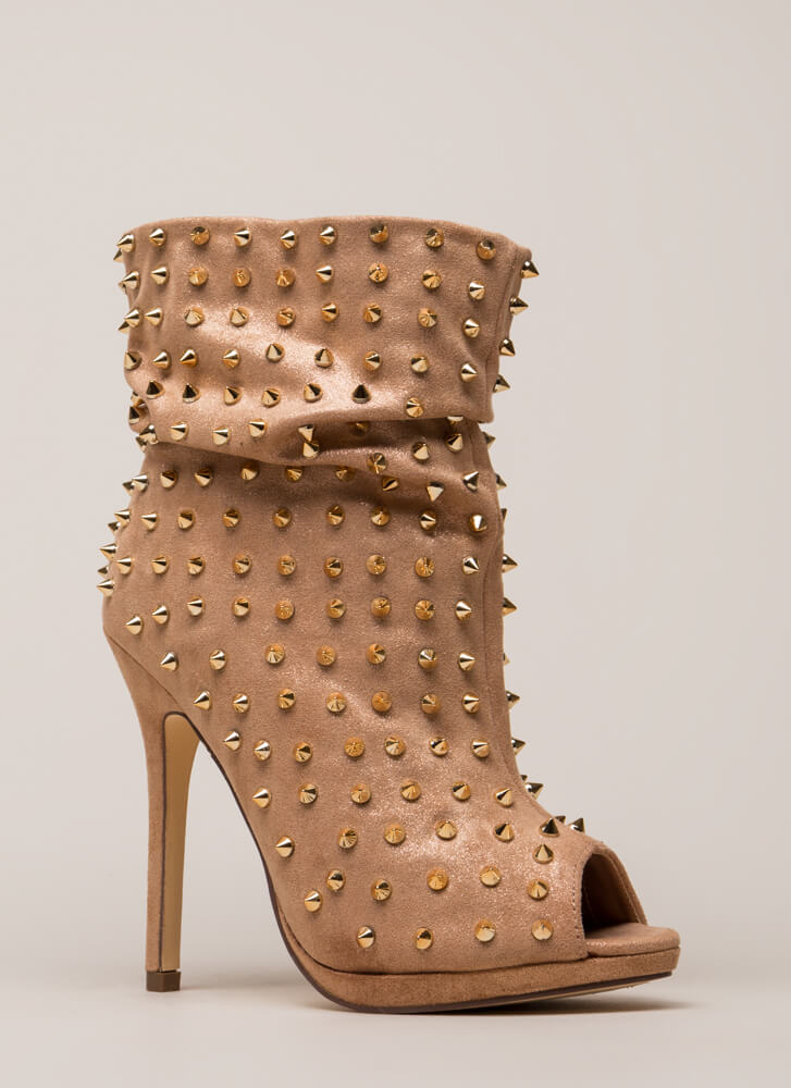 Spike A Pose Metallic Studded Booties GOLD